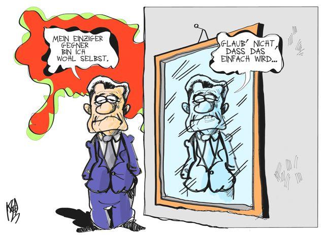 Gauck vor seinem Amtsantritt Karikatur: Kostas Koufogiorgos
