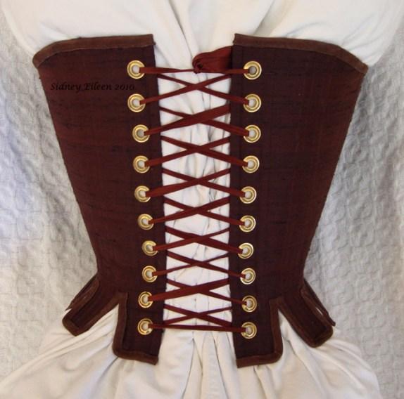 Brown Silk Renaissance Stays - Back View, by Sidney Eileen