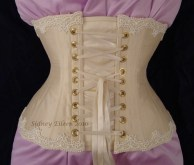 Cream Silk Underbust with Lace Edging - Back View, by Sidney Eileen