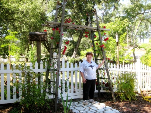 This grand arbor was constructed by husband Mike for Diane's roses