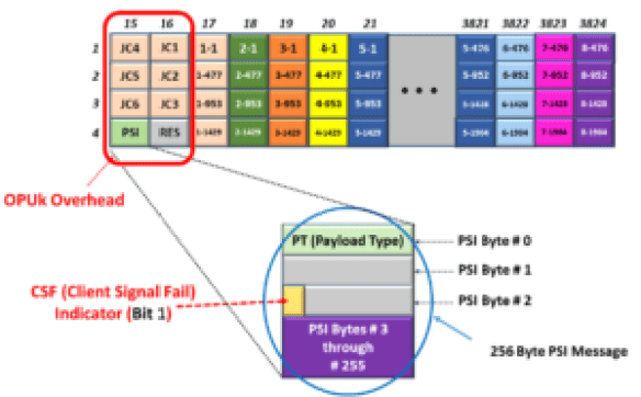 Payload Structure Identifier Message and PSI Byte within an OPUk Frame