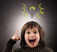 Exellent idea, kid with illustrated bulb above his head