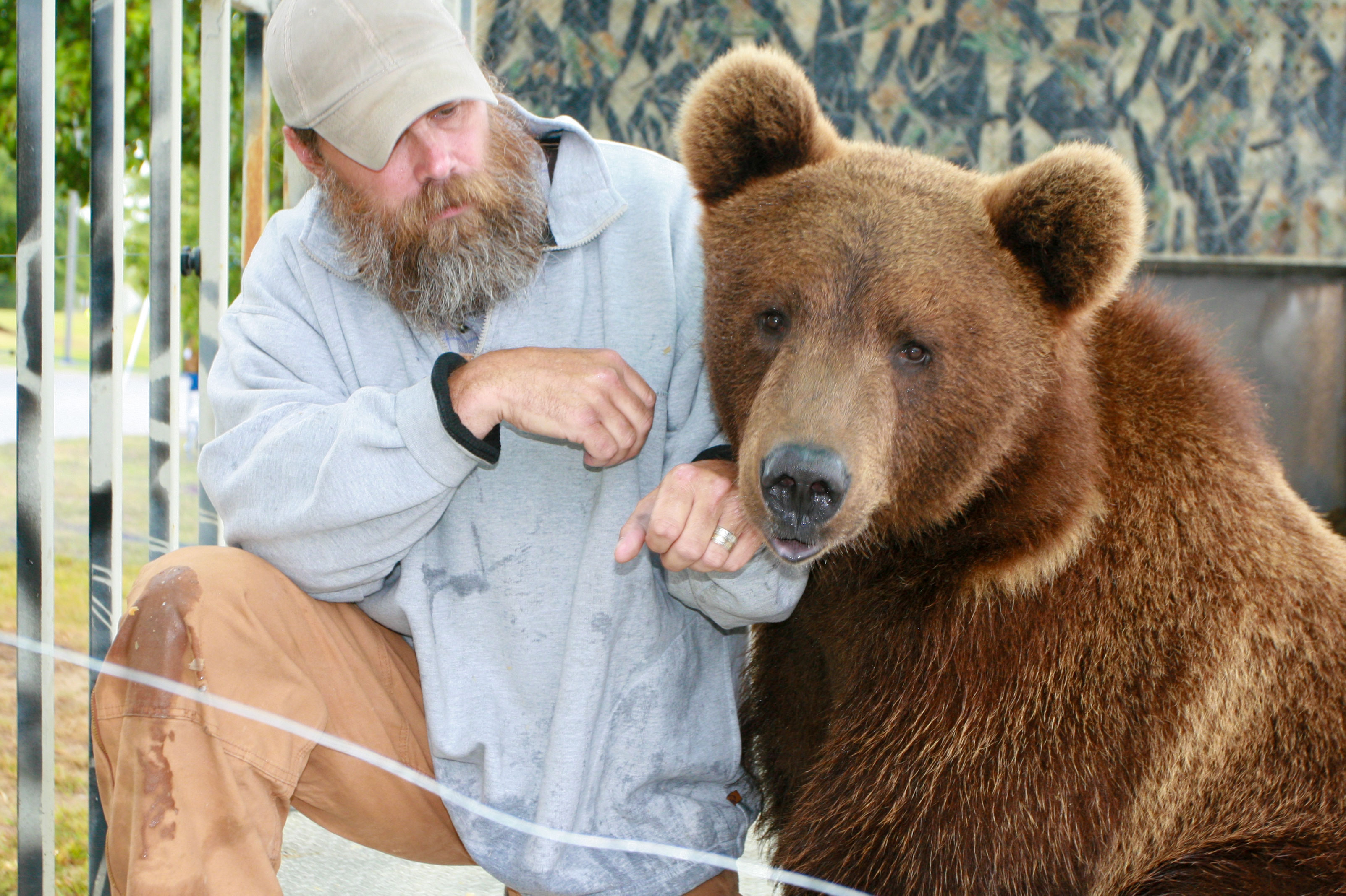 "Jeff ""the Bear Man"" Watson with his bear."