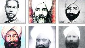 (Clockwise from top left) Kartar Singh Sarabha, Bakhshish Singh Gillwali, Surain Singh Gillwali (younger), Harnam Singh Sialkot, Jagat Singh Sur Singh and Surain Singh Gillwali