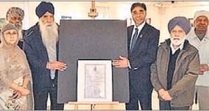 Ghadar centenary proclamation installed at heritage gurdwara
