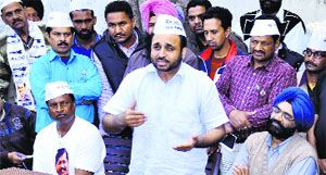 AAP's Sangrur candidate Bhagwant Mann interacts with mediapersons in Sangrur on Tuesday.