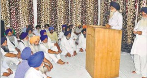 A meeting to mark protest against the move to have a separate managing committee for gurdwaras in Haryana in progress at Nada Sahib Gurdwara in Panchkula