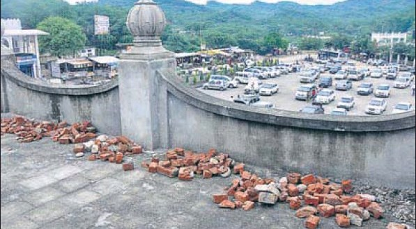 Stones and bricks stashed on the terrace by SGPC supporters at the Nada Sahib gurdwara.