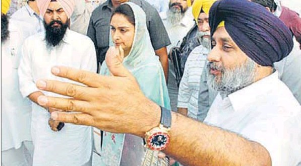 Deputy chief minister Sukhbir Singh Badal, along with wife and union minister for food processing Harsimrat Kaur Badal, reviewing the progress of the Golden Temple entrance plaza project in Amritsar