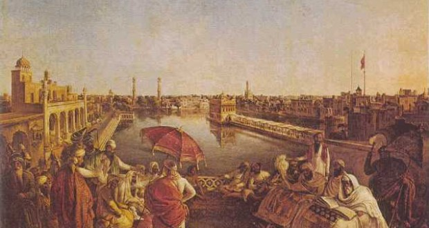 Maharaja Ranjit Singh listening to the two sacred Granths being recited near Sri Harimandir Sahib. (A Painting by August Theodore Schoefft (1809-1888), made in Amritsar. From Princess Bamba Collection)