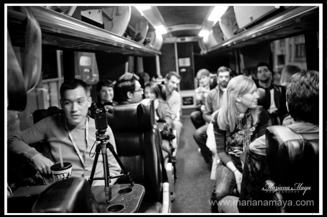 Members of a StartupBus team get settled in for a long ride. Photo by Flickr user marimaya.