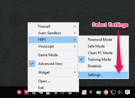 HIPS Settings menu