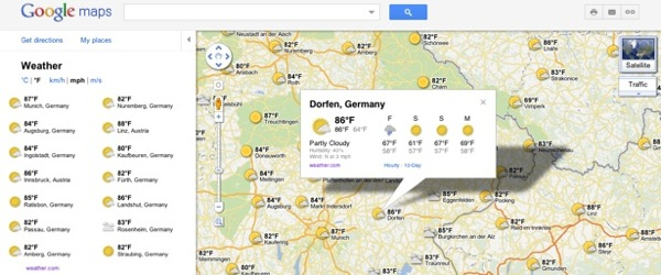 Google Maps weather data 1
