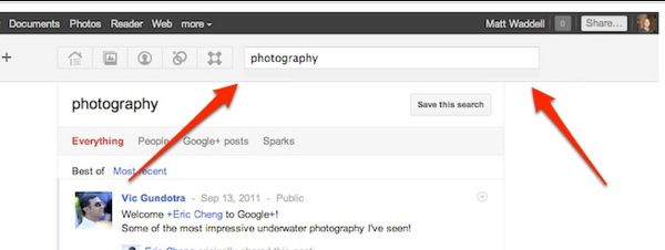 Search google plus