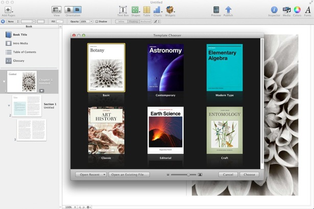 Template Chooser ibooks author