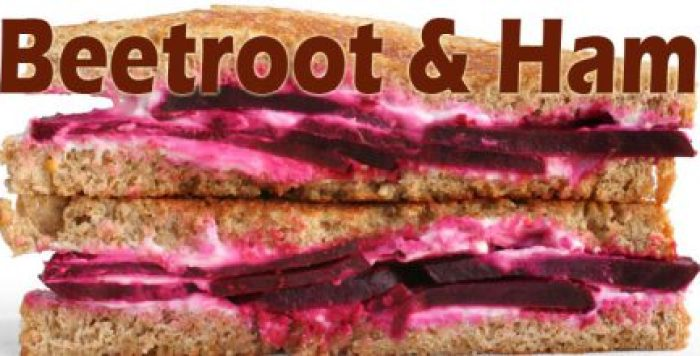 Beetroot and ham sandwich