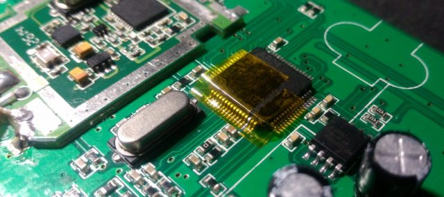 Kapton tape is used to isolate the pin we want to solder to.