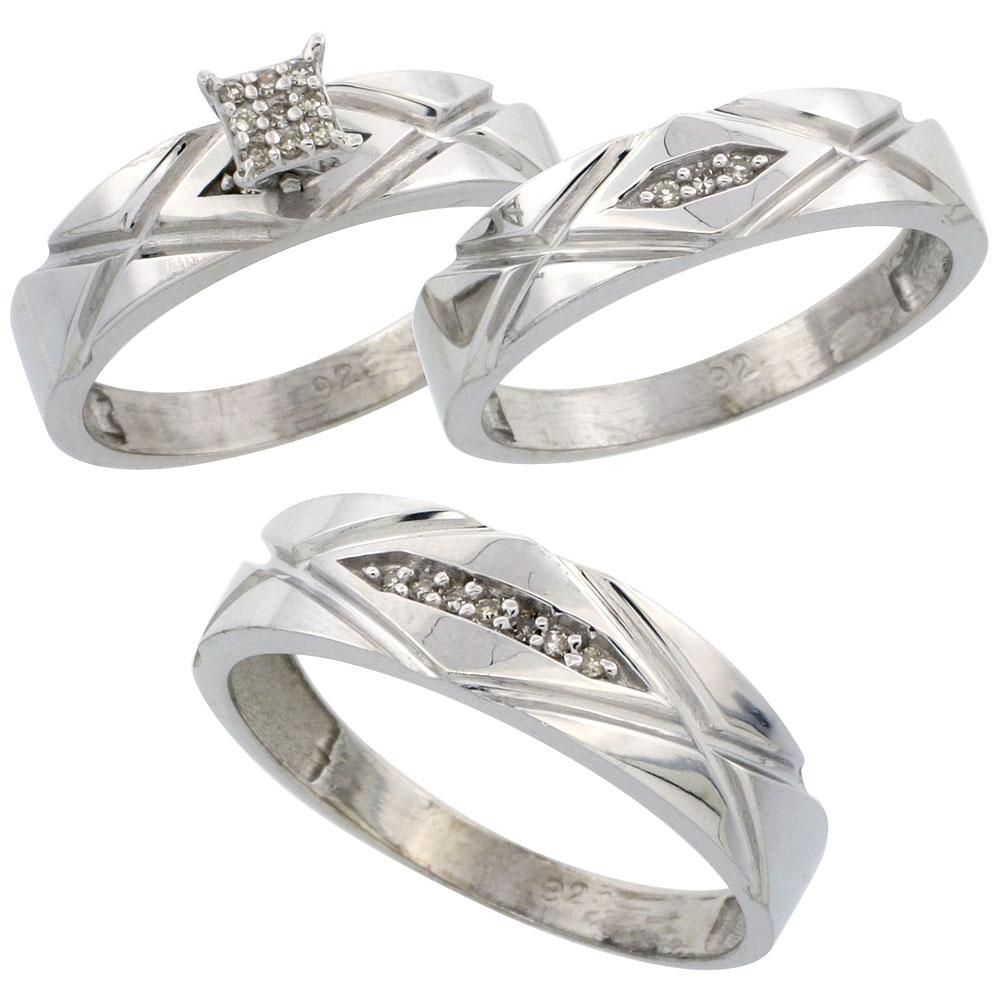 Trio Ring Sets trio wedding rings Sterling Silver Diamond Trio Wedding Ring Set His 6mm Hers 5mm Rhodium finish Men s