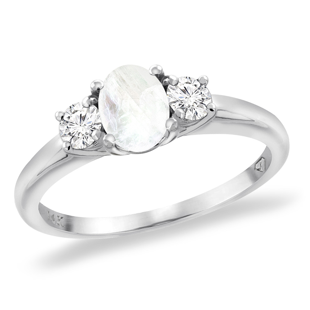 home moonstone wedding rings 14K White Gold Natural Rainbow Moonstone Engagement Ring Diamond Accents Oval mm sizes 5