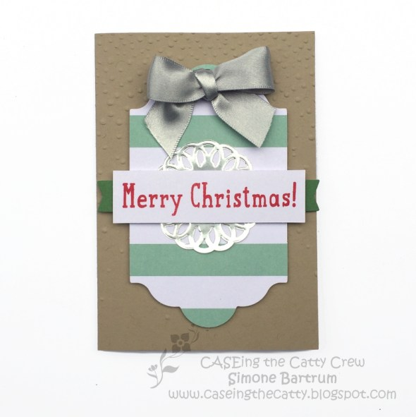 Merry Christmas card - Made with the Oh What Fun tag project kit by Stampin' Up! + Crumb Cake notecard.