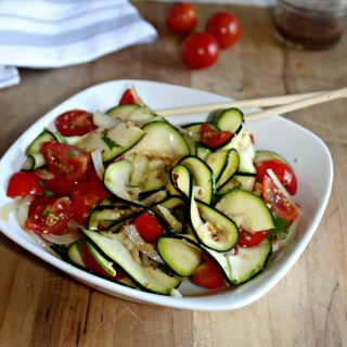 spicy Asian Zucchini Salad made with tomaotes Simple and savory.com