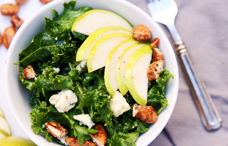 Kale Salad with Pear and Candied Pecans