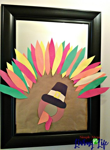 Easy DYI turkey mirror for fun Thanksgiving decor.