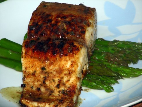 Pan Fried Dorado with Steamed Asparagus.