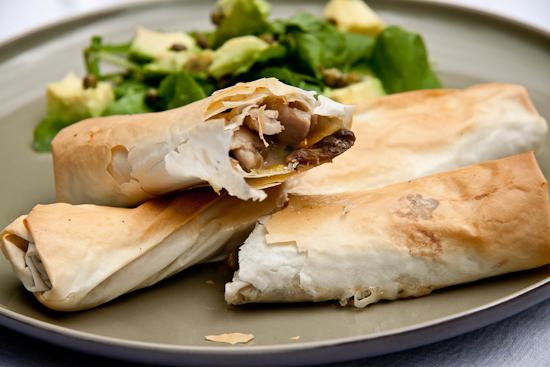 Chicken, Mushroom & Leek Phyllo Rolls