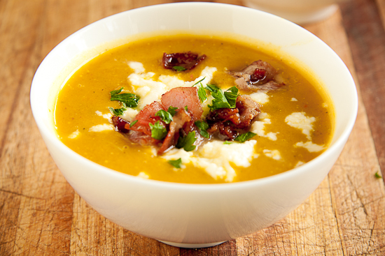 Smooth Vegetable soup with Bacon & Feta