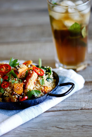 Whole-wheat couscous salad with haloumi and sweet potato