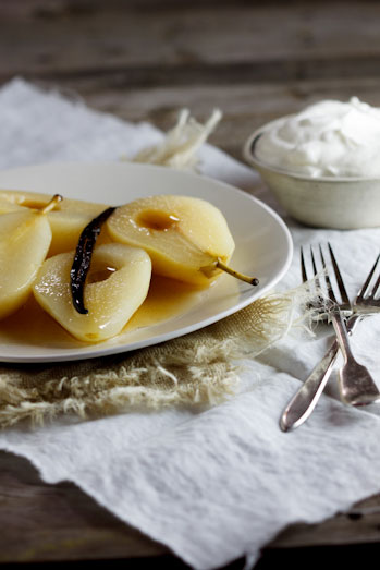 Wine-poached pears with Vanilla 'mousse'