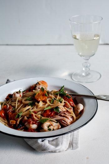 Roasted Tomato, Chili Calamari Linguini