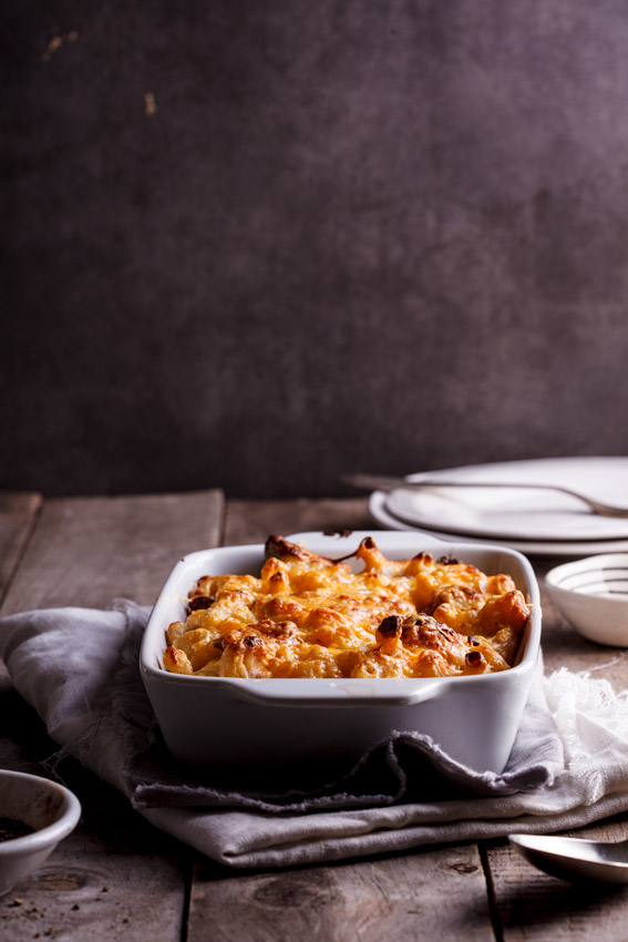 Macaroni & Cheese with brussels sprouts and bacon