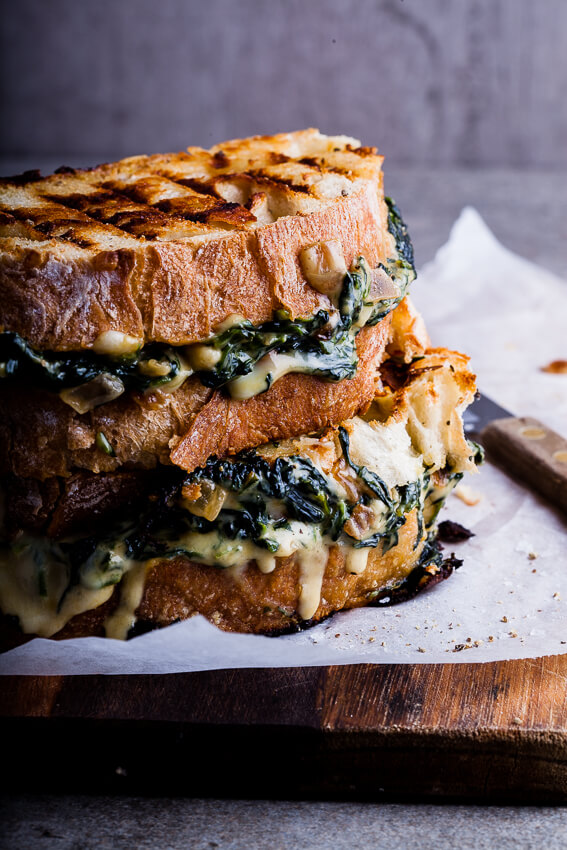 Creamed spinach grilled cheese sandwich