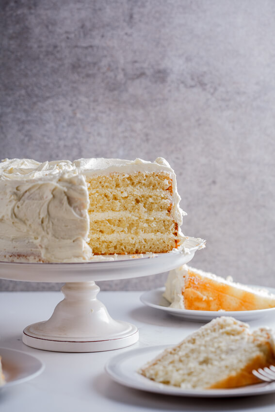 Lemon yoghurt cake with white chocolate frosting