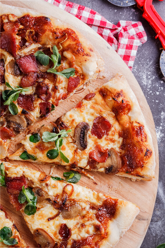 Bacon, mushroom and crispy onion pizza and the ultimate steak salad ...