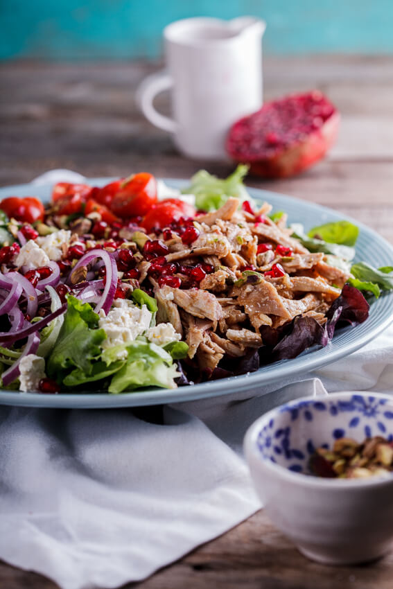 Leftover roast chicken is perfect used in this aromatic Moroccan chicken salad recipe. An aromatic dressing adds just the right amount of zest and flavor.