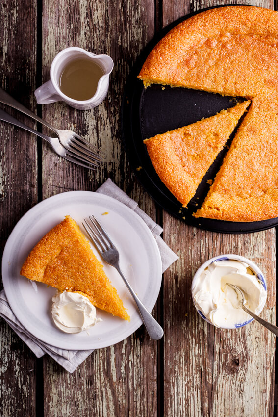 Gluten-free lemon polenta almond cake