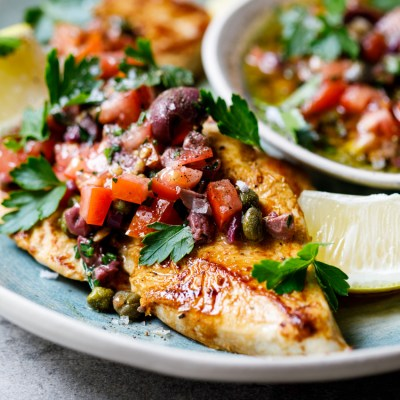 Chicken breasts with olive, tomato and caper dressing - Simply Delicious