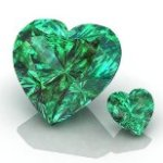 Photo of heart shaped Emeralds