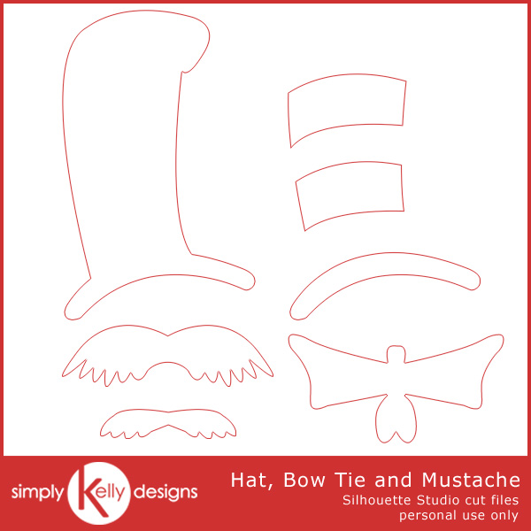 Hat, Bow Tie and Mustache Silhouette Studio Cut Files by Simply Kelly Designs