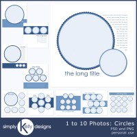 1 to 10 Photo Digital Scrapbook Template: Circles and Squares