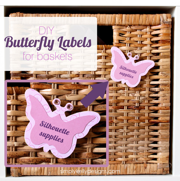 DIY Butterfly Labels For IKEA BRANÄS Rattan Basket by Simply Kelly Designs #SilhouetteRocks #SilhouetteChallenge #Butterflies #IKEA #Expedit #BRANAS #basketlabels