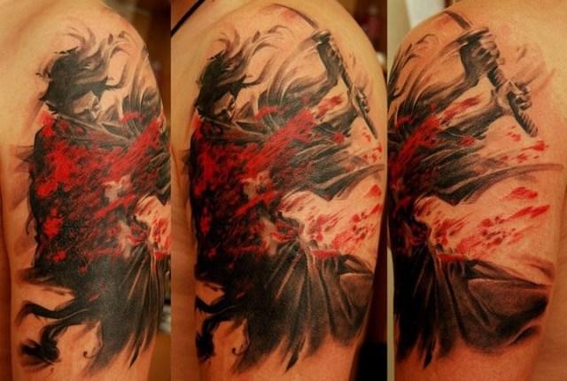battle tattoo of samurai