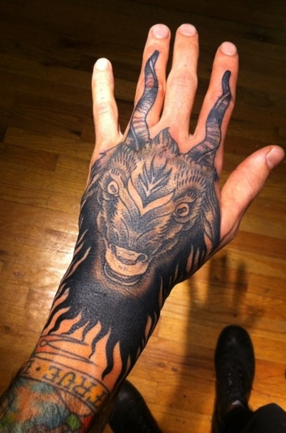 hand capricorn goat tattoo