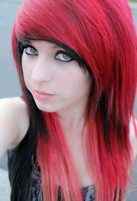 jet red and black emo hairstyle