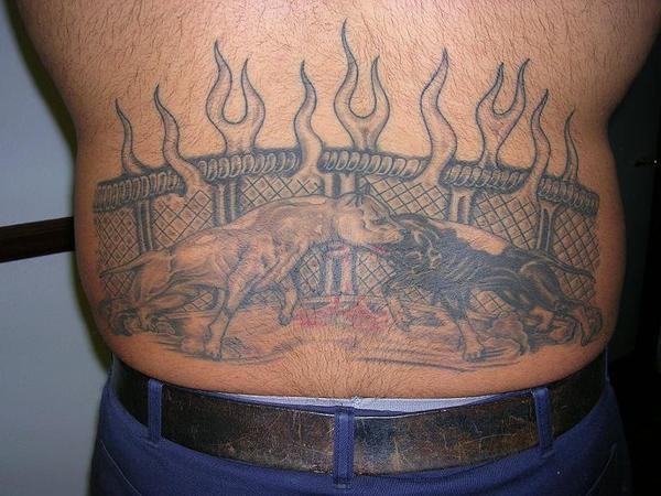 bull fighting tattoo design
