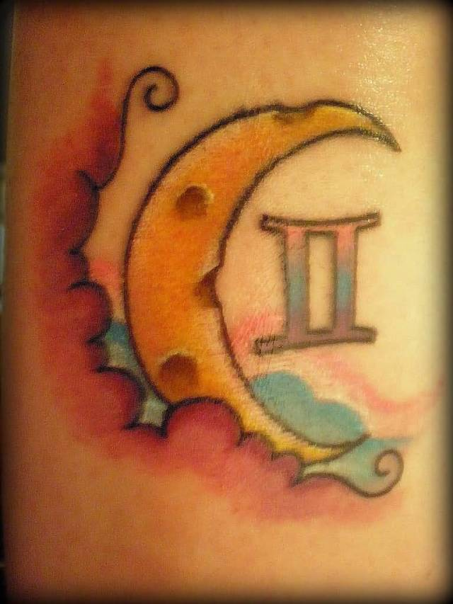 half moon gemini tattoo design