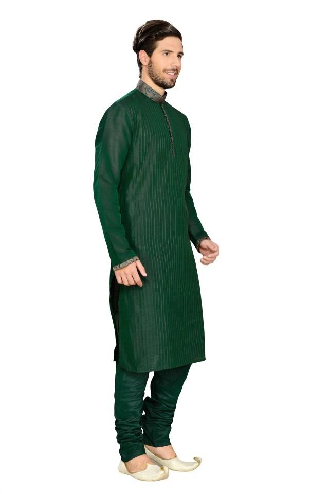 stylish green kurts pyjama for men